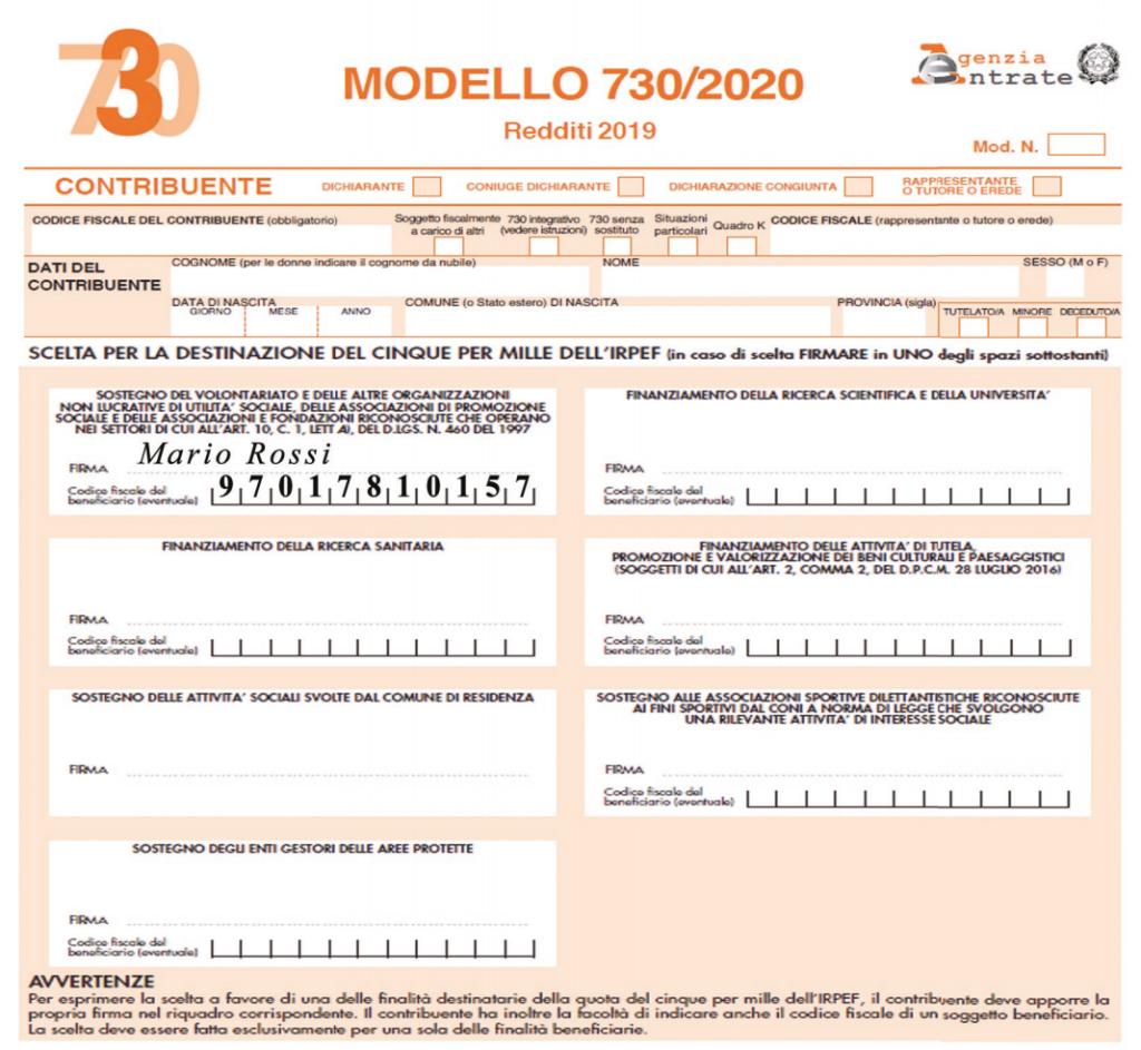 5x1000 modello 730/2020
