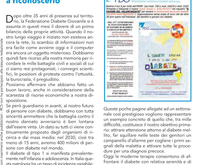 Secondo inserto sul corriere della sera della Federazione Nazionale Diabete Giovanile