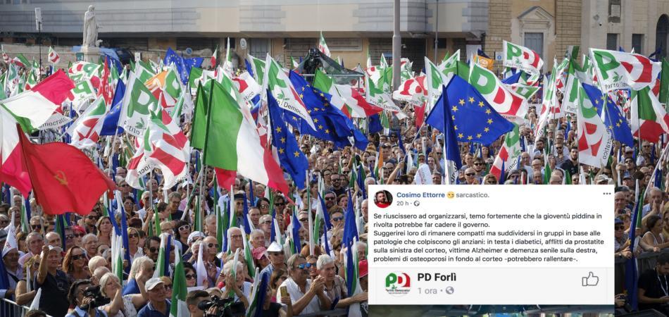 Consigliere M5S offende manifestanti Pd e malati