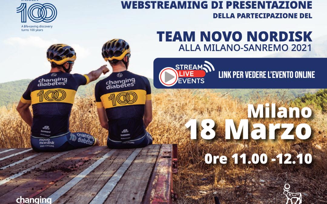 Conferenza Istituzionale di Presentazione del Team Novo Nordisk alla Milano Sanremo: 18 marzo ore 11:00